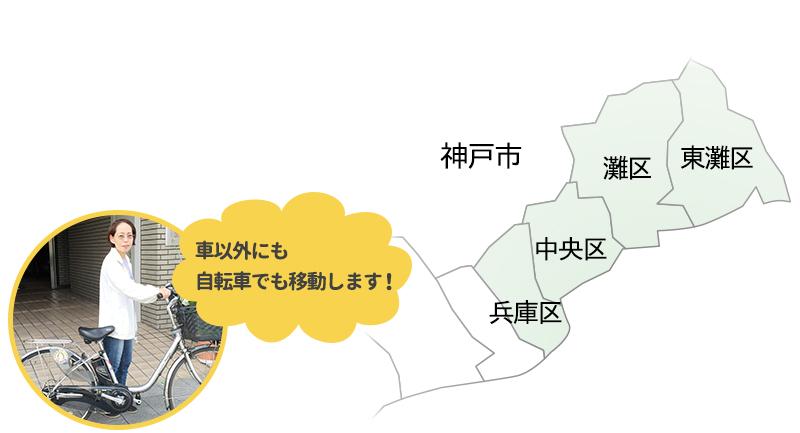 兵庫区、中央区、灘区、東灘区の4ヶ区となります。